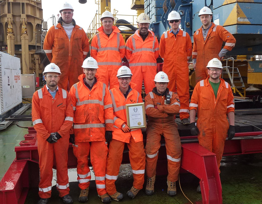 Members of Fugro GeoServices with their gold award