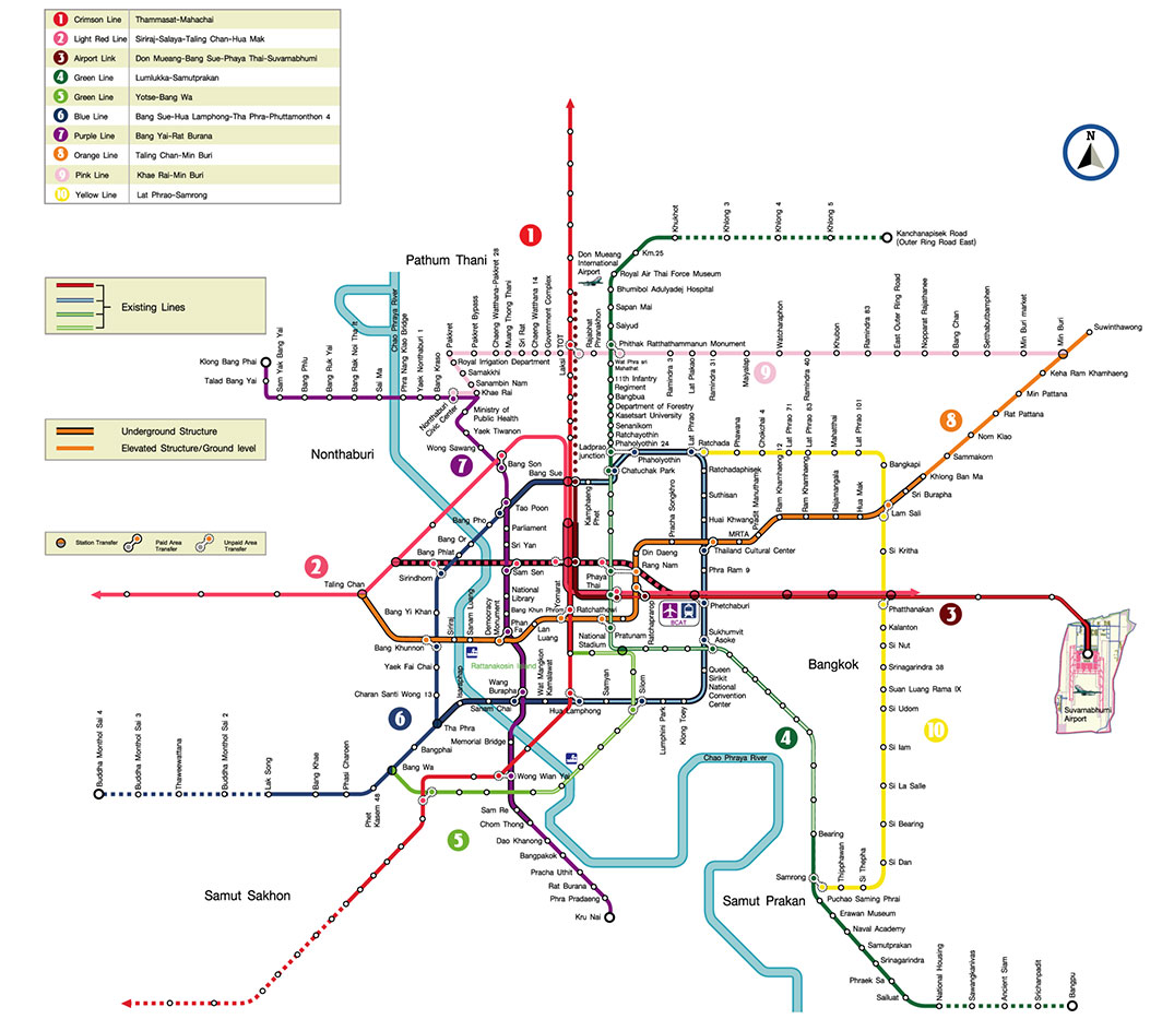 Fig 1. The Bangkok public mass transport system