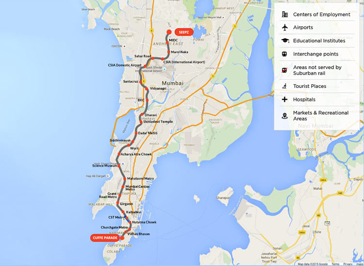 Fig 1. Route of the 33.5km long Mumbai Metro Line 3