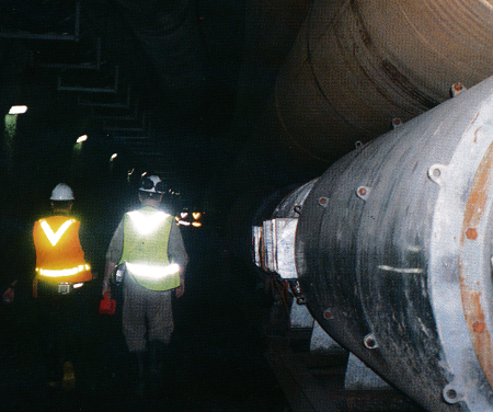 The 1.6m-diameter ventilation ducts that carry fresh air down to the advancing TBM tunnels