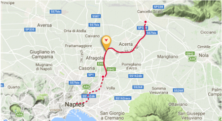 Fig 1.  Route of the Naples-Cancello Lot with its high speed rail tunnel