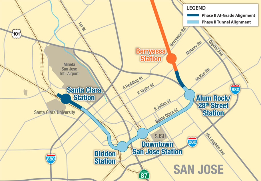 Fig 1. Details of the BART extension under San Jose