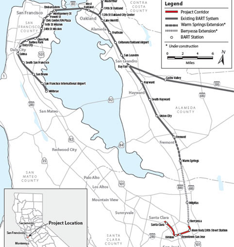 Fig 4. The extension to Silicon Valley will add another 4.5 miles of underground infrastructure to the 112-mile BART network
