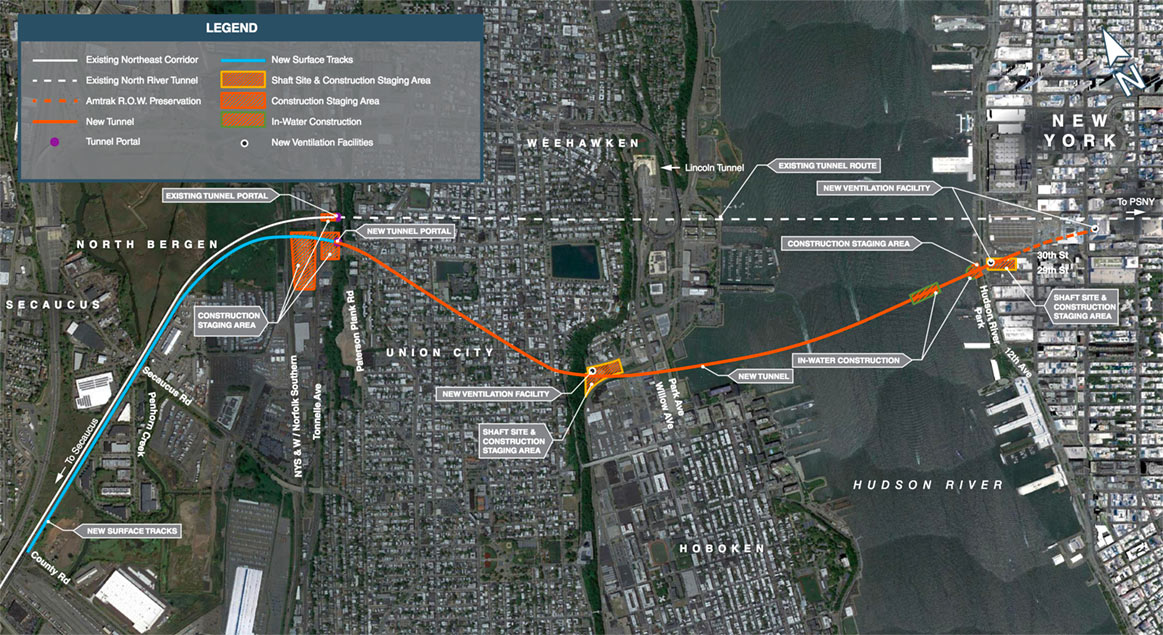 Fig 4. New Hudson Rail Tunnel alignment