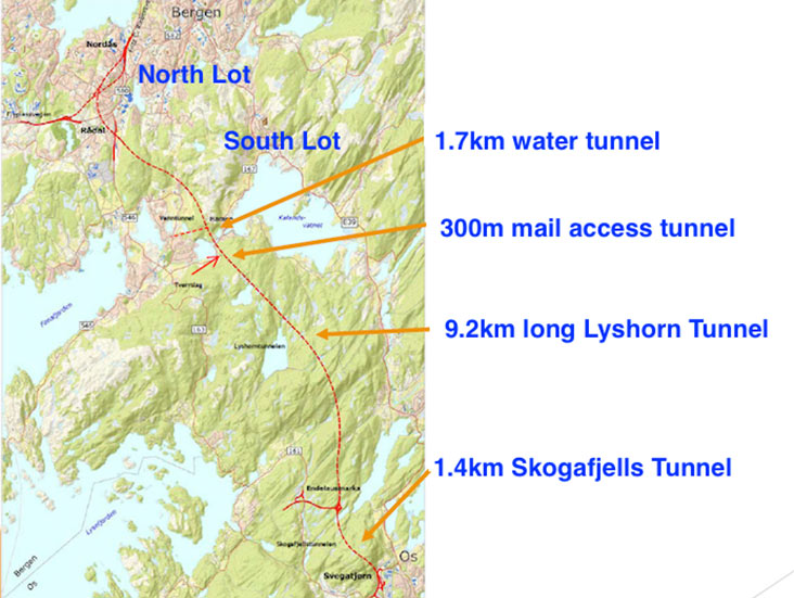 Fig 1. E39 road tunnels near Bergen