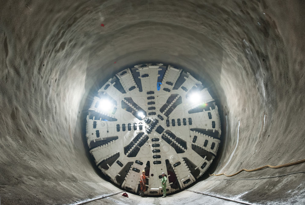 A single TBM is working on the Filder Tunnel' style=