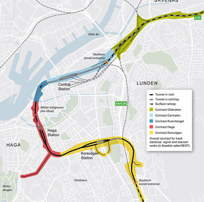 Gothenburg West Link rail project contract lots
