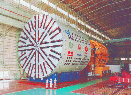 One of the eight enormous 14.14m o.d. slurry TBMs that will excavate the twin-tube 10km long undersea tunnel