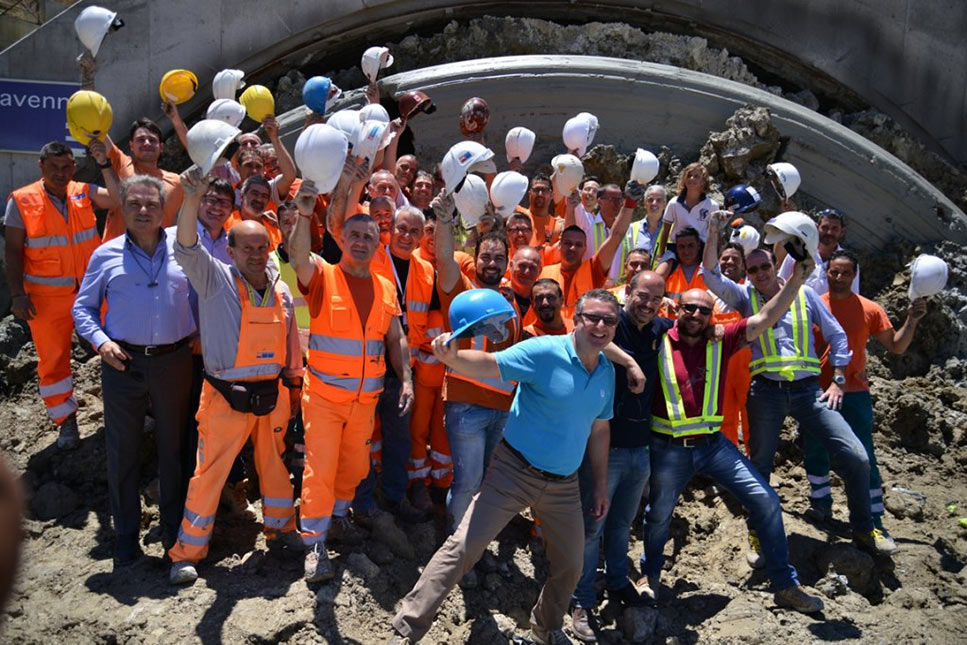 Celebrations as NFM mega TBM finishes last bore for the Caltanissetta highway tunnel in Sicily' style='width:400px;float: left;