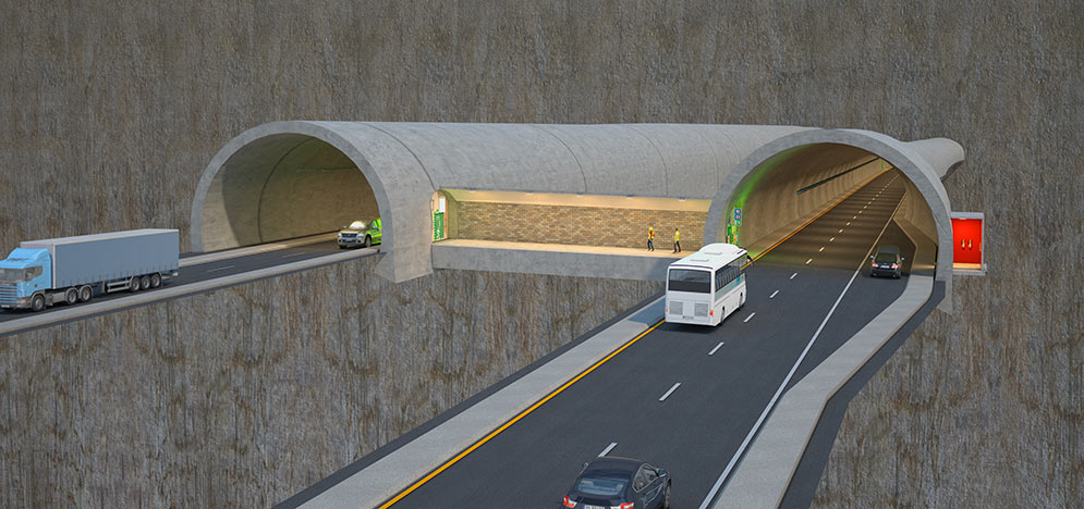 Section through Rogfast twin road tunnels