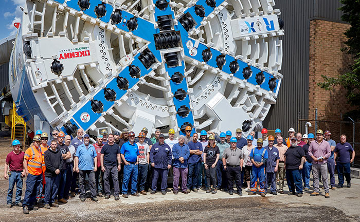 Manufacturing and assembly crew with the TBM