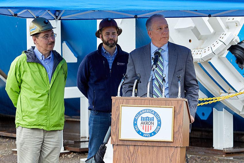 At factory open day (from left)  Dennis Ofiara, Robbins Chief Engineer; David Chastka, Kenny-Obayashi Project Engineer; Daniel Horrigan, Mayor of Akron
