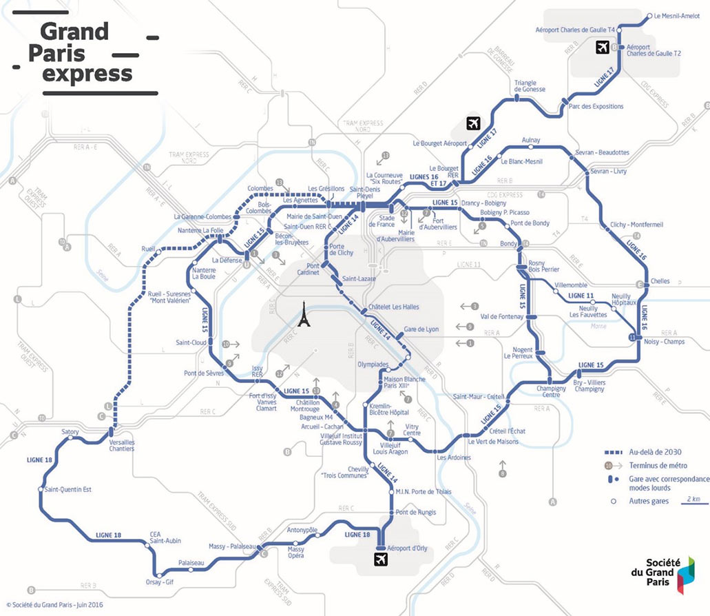 Fig 1. Work has started on three lines of the mega Grand Paris Metro project – Line 15 South, Line 14 and Line 16 – with more to come