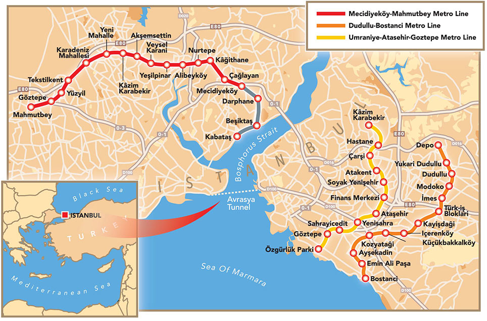 Fig 1. New metro lines currently under construction in Istanbul