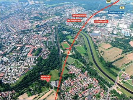Route of the twin tube TBM tunnel under the mainline railway, under the canal and under urban areas of the city of Rastatt