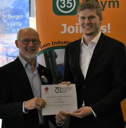 Ed Taylor (left), Chair of ATS presents Award to author Daan Van den Broecke