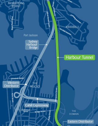 Immersed tube tunnel carries northbound traffic under the harbour