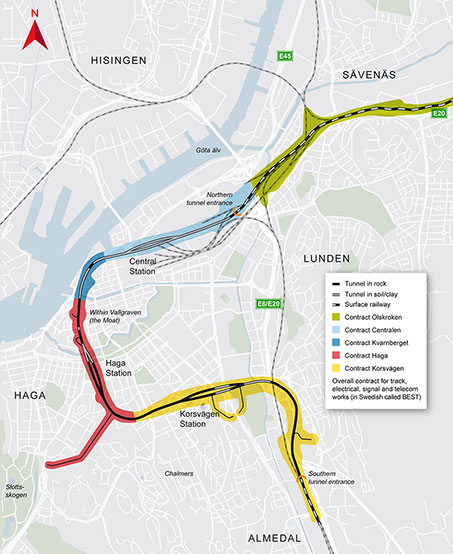 Gothenburg West Link rail project contracts