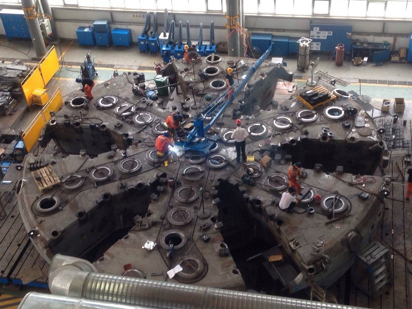 Cutterhead of another TBM  of more than 15m in diameter in fabrication