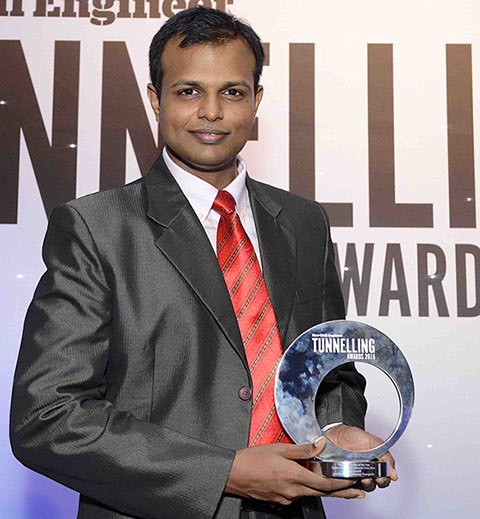 ITACET scholarship recipient Senthilnath Govindaraju Thangavelu, who won Young Tunneller of the Year in 2016