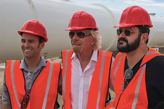Richard Branson (centre) with Hyperloop One co-founders