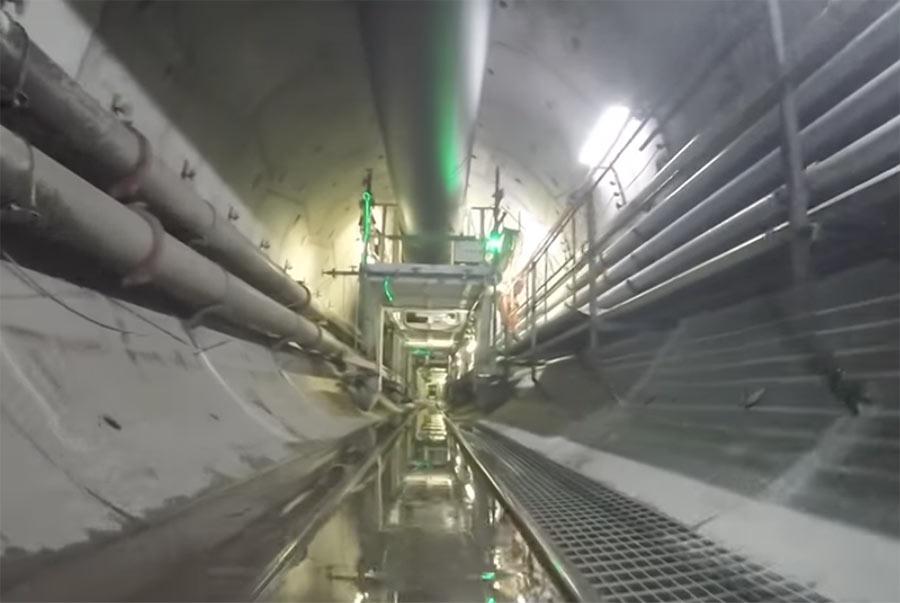 Inside the 4.7m diameter 3.1 mile long tunnel