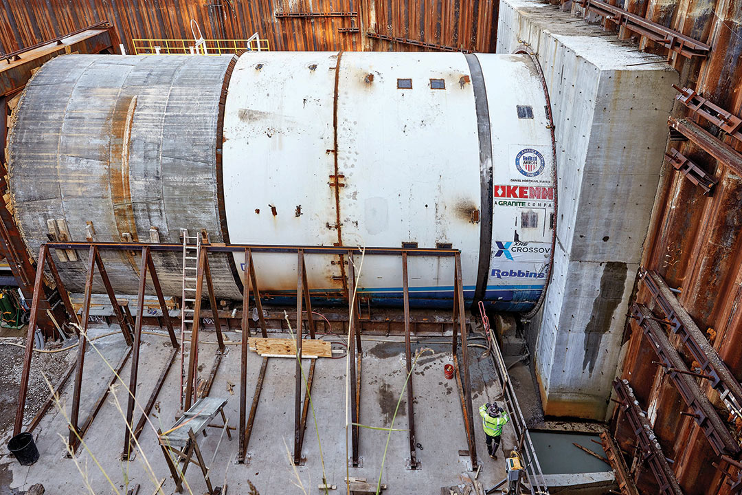 The Robbins Crossover (XRE) TBM and its continuous conveyor system began excavation on October 18, 2017