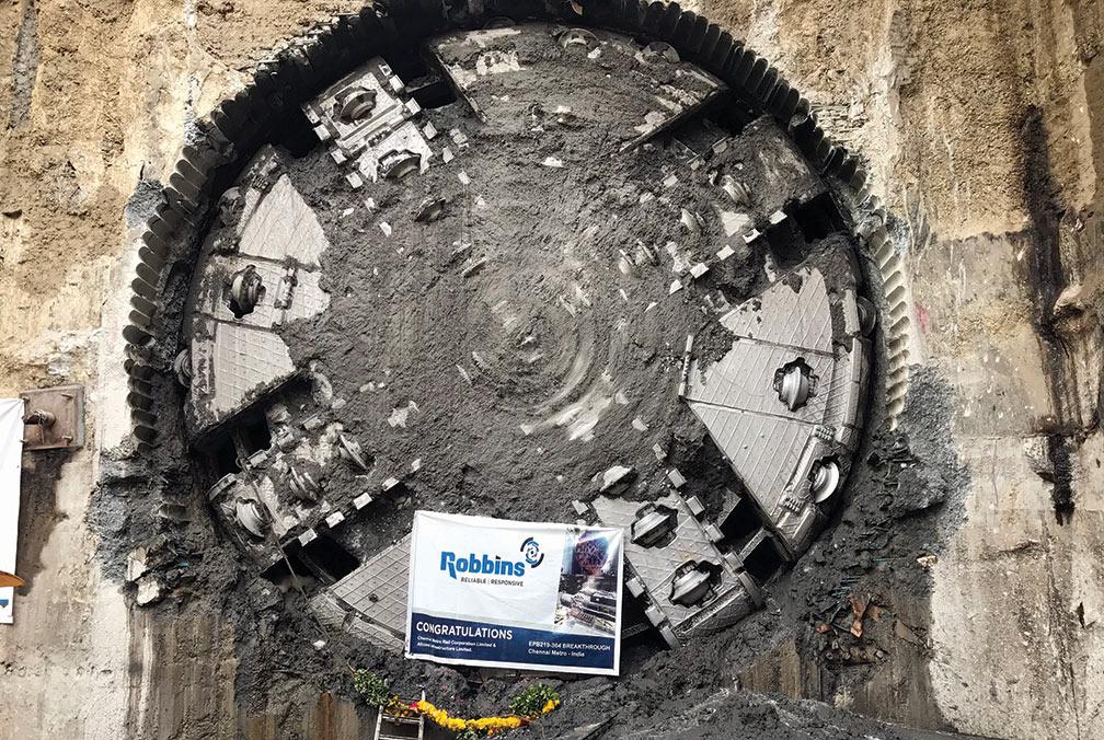 6.65m Robbins EPBM breaks through at Chennai Metro, India