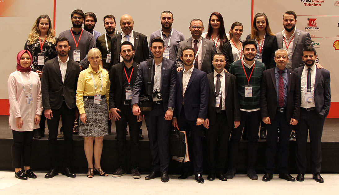 <em>TunnelTalk</em> (in yellow) joined a photo call with Professors Bilgin, Balci and Copur and the many university students who benefited from attending the symposium