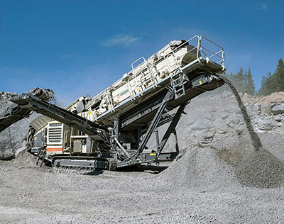 A combined crushing and screening plant ideal for processing rock