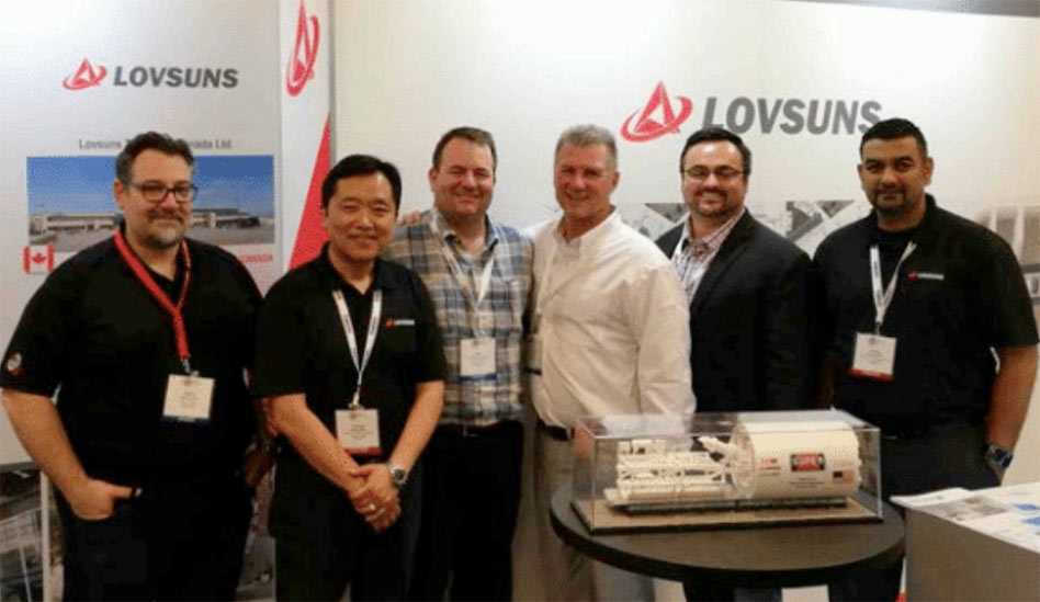 From left:  Walter Trisi of CRS/Super Excavators; Hongyu Xue, General Manager of Lovsuns Tunneling Canada;  Pete Schraufnagel, Jeff Weakly and Mike Garbeth of Super Excavators;  Sanjay Birbal of Lovsuns