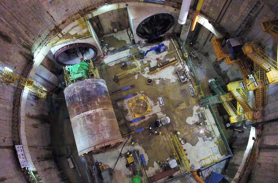 Aerial view into the 30m deep working shaft