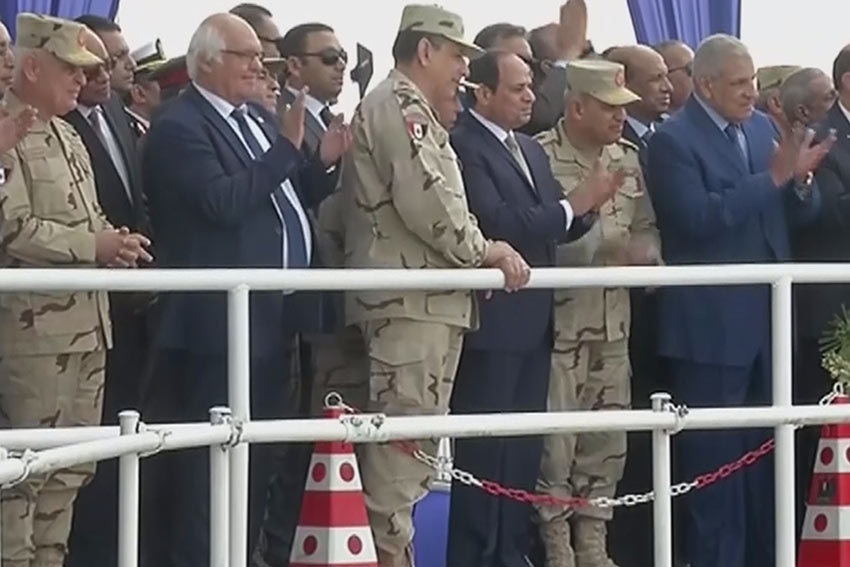 Egypt President Abdel Fattah al-Sisi and Dr Martin Herrenknecht witness the final TBM breakthrough