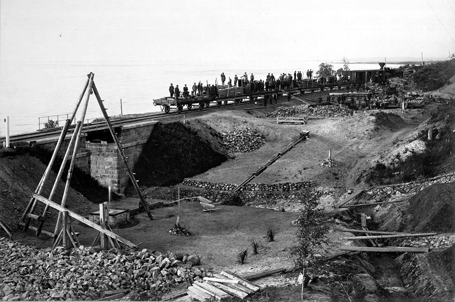 Preparations in 1952 for building the link