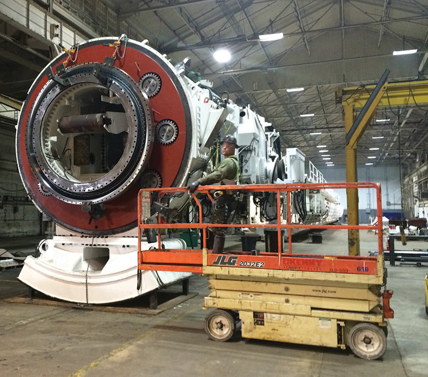 A 6.2m diameter Robbins TBM in rebuild for work on the Albany Park stormwater diversion tunnel in Chicago in 2018