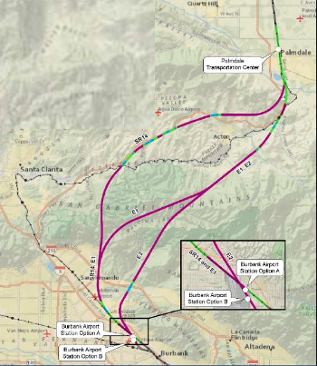 Fig 4. Longest tunnels are on the Palmdale to Burbank route through the San Gabriel Mountains, proposed tunnels in purple