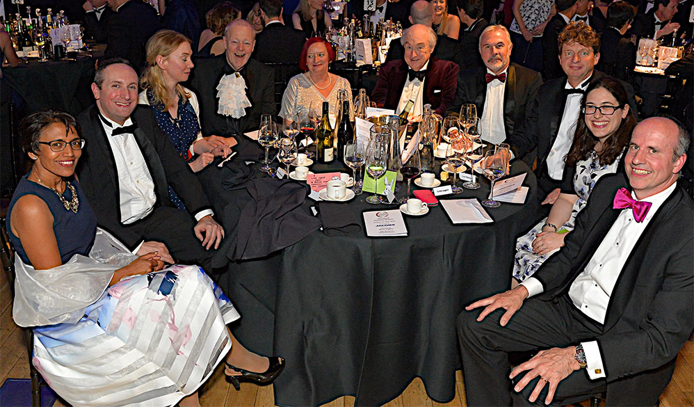 Top table of guests hosted by BTS Chair Mark Leggett (first right), BTS Vice Chair Ivor Thomas (third right) and Master of Ceremonies John Scholey (fourth left) and including guest speaker of the evening Henry Blofeld