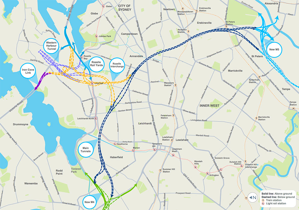 Fig 1. Proposed Rozelle Interchange on the M4-M5 Link