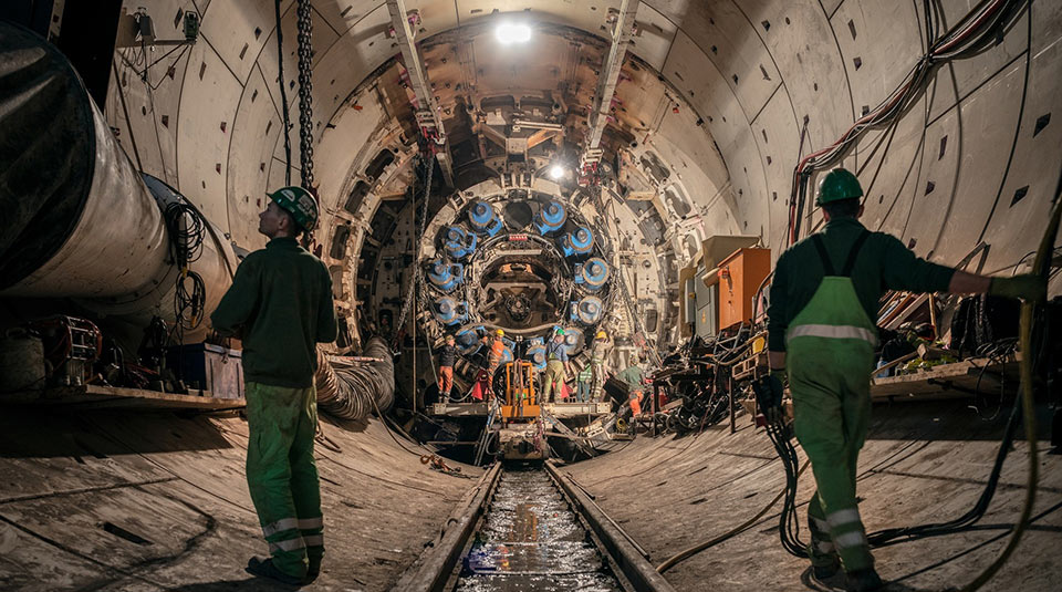 TBM being  disassembled and prepared for its u-turn