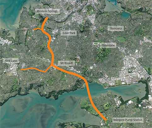 Route of the new interceptor sewer for Auckland