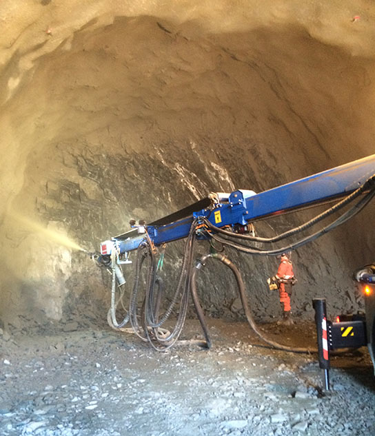 Shotcrete derived from rock from the very tunnel it is lining