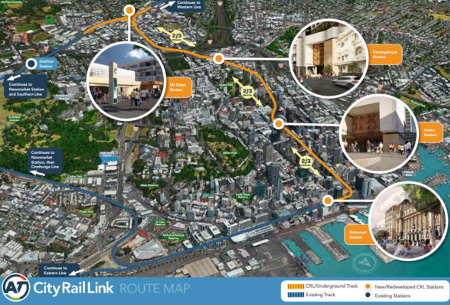 Fig 3. New line will create a through link from the current terminus station at Britomart in the city centre to the North Auckland rail line at Mt Eden Station