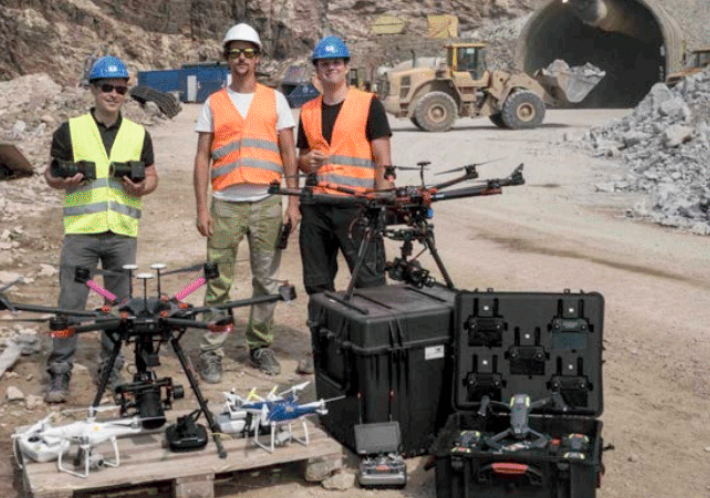 For generating photogrammetric data more efficiently Geoconsult employs multiple drones flying in swarm mode