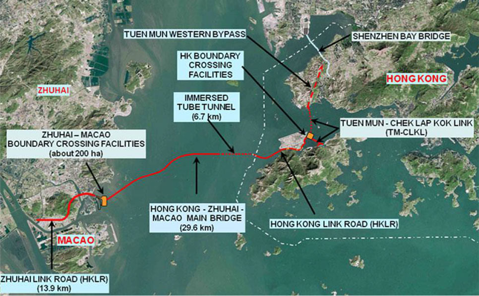 Route of the  Hong Kong-Zhuhai-Macao sea link