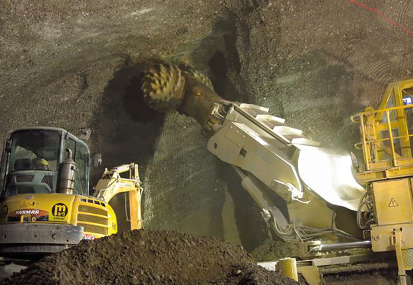 Roadheader excavation for Thun car garage, Switzerland