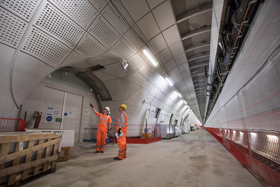 Crossrail station platform finishings under construction