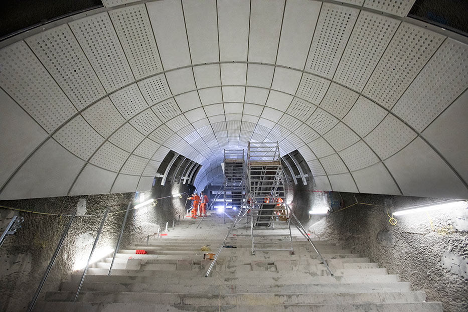 Escalators being installed at Bond Street Station