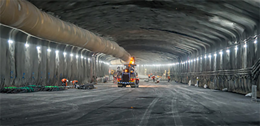 The excavated three-lane tunnel profile