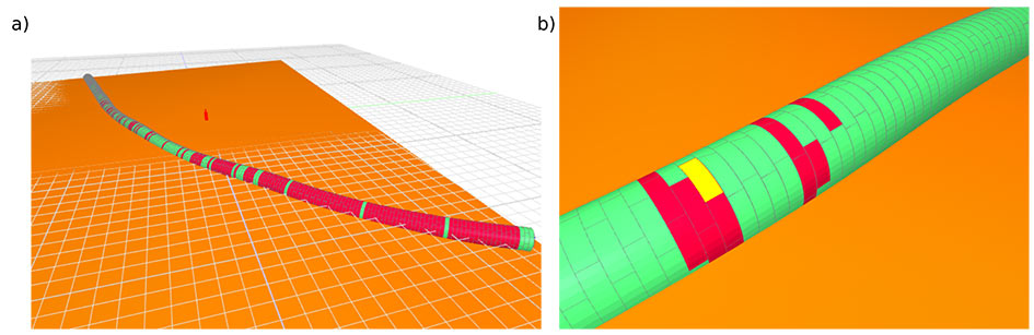 Fig 1. BIM representation of segmental lining embedded in digital ground model with TBM thrust forces highlighted