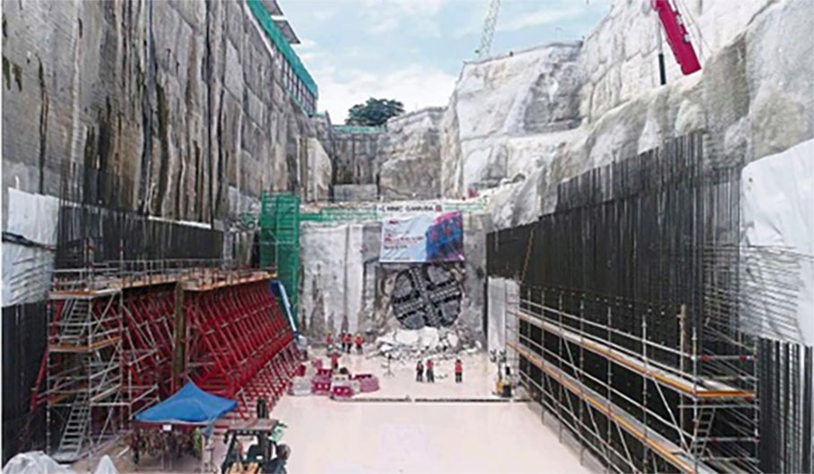 First of 16 TBM breakthroughs to occur to complete the 13.5km underground section of the KVMRT Line 2